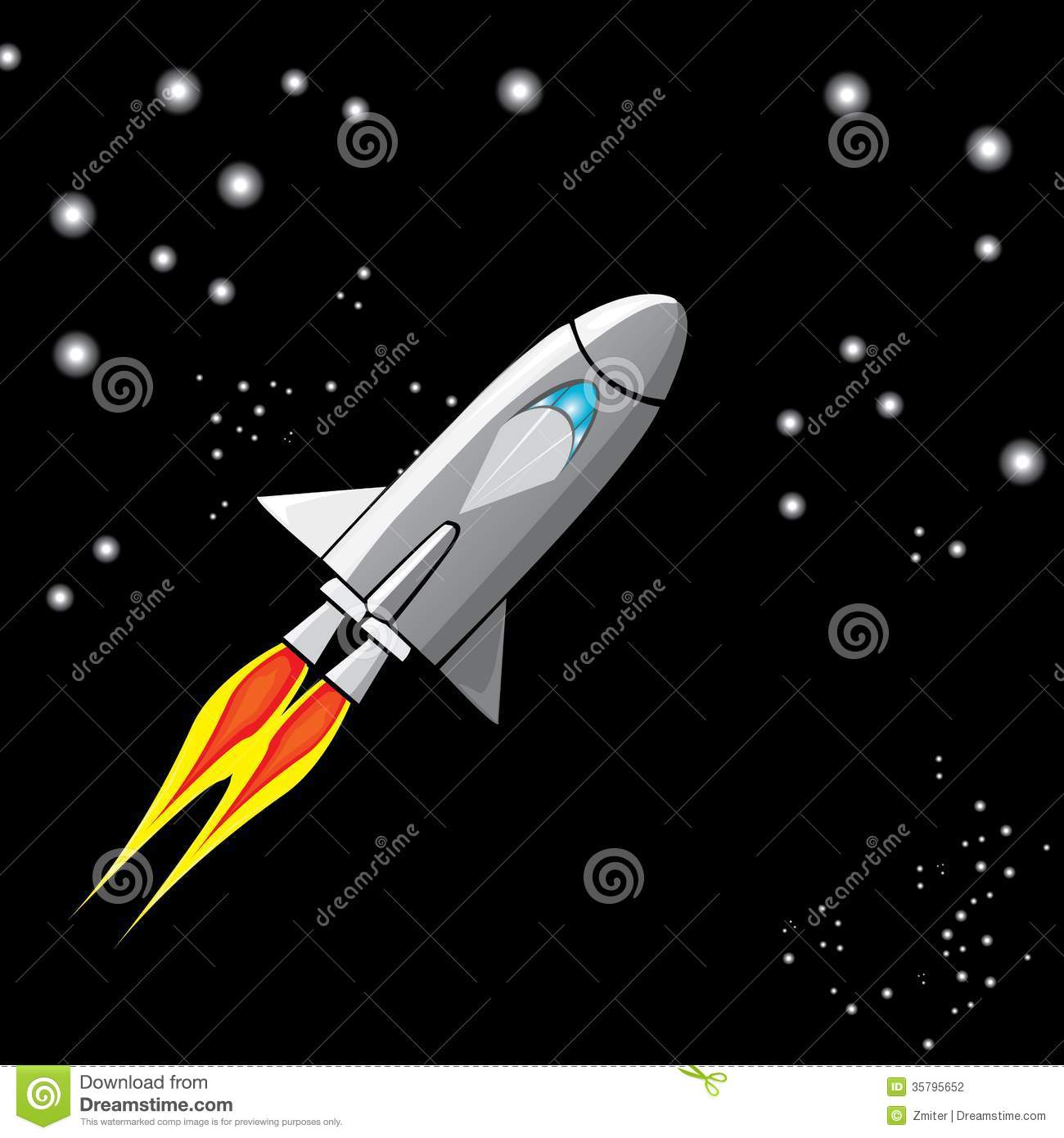 Vector Retro Rocket Ship Space In The Sky  Stock Photography   Image
