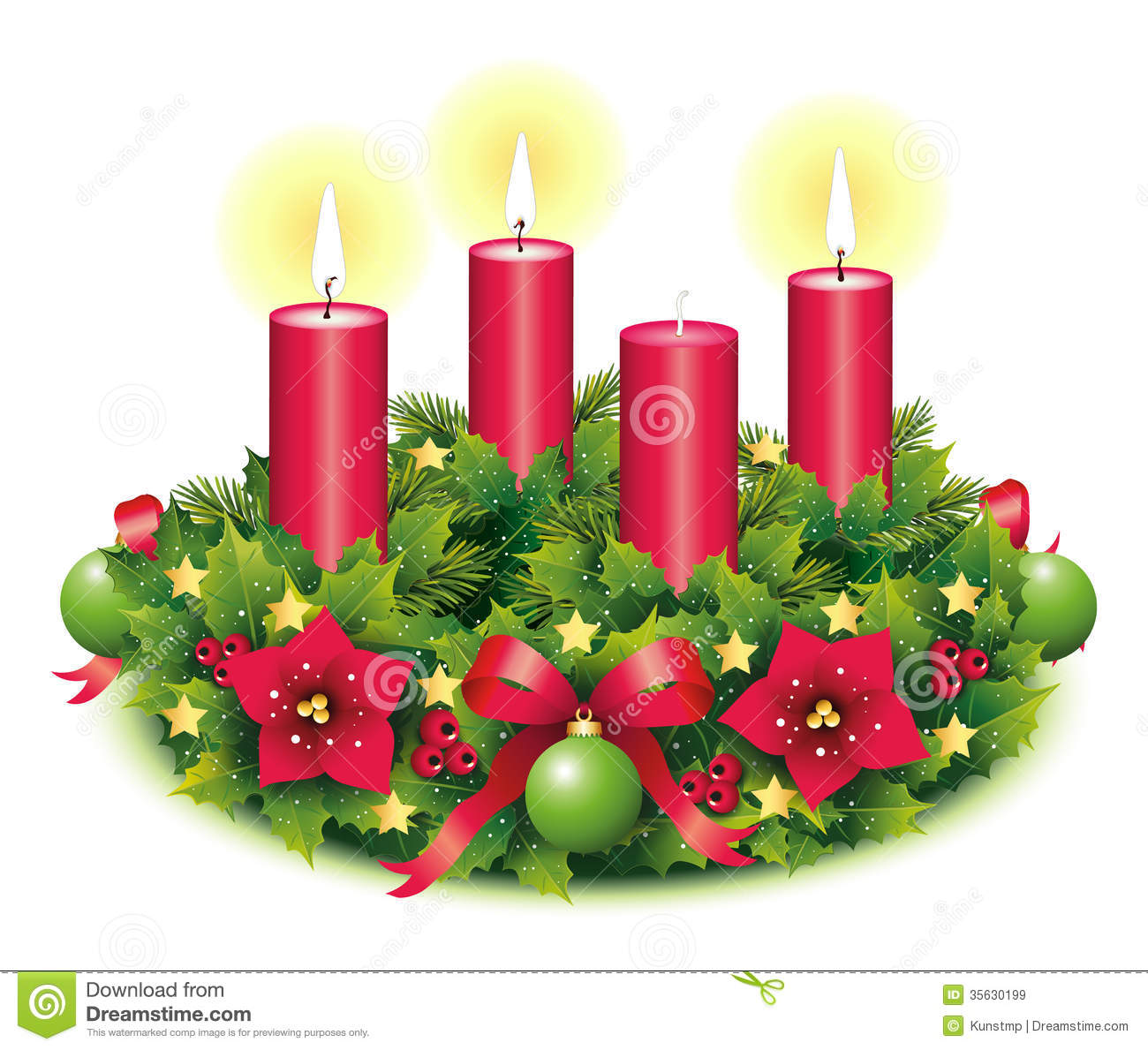 Advent Advent Wreath Second Advent 3 Third Burning Candle Christmas