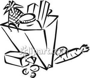 Black And White Grocery Bag Clip Art Bag Of Food Clipart - ...