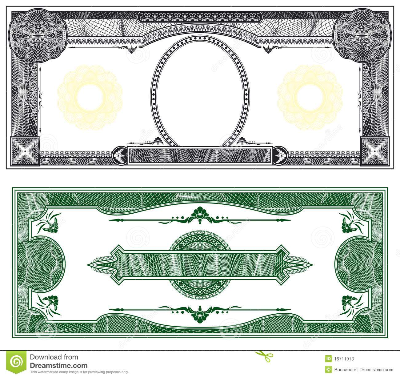 Blank Banknote Layout With Obverse And Reverse Based On Dollar Bill