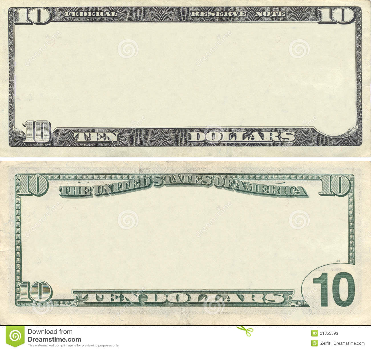 Clear 10 Dollar Banknote Pattern Stock Photos   Image  21355593