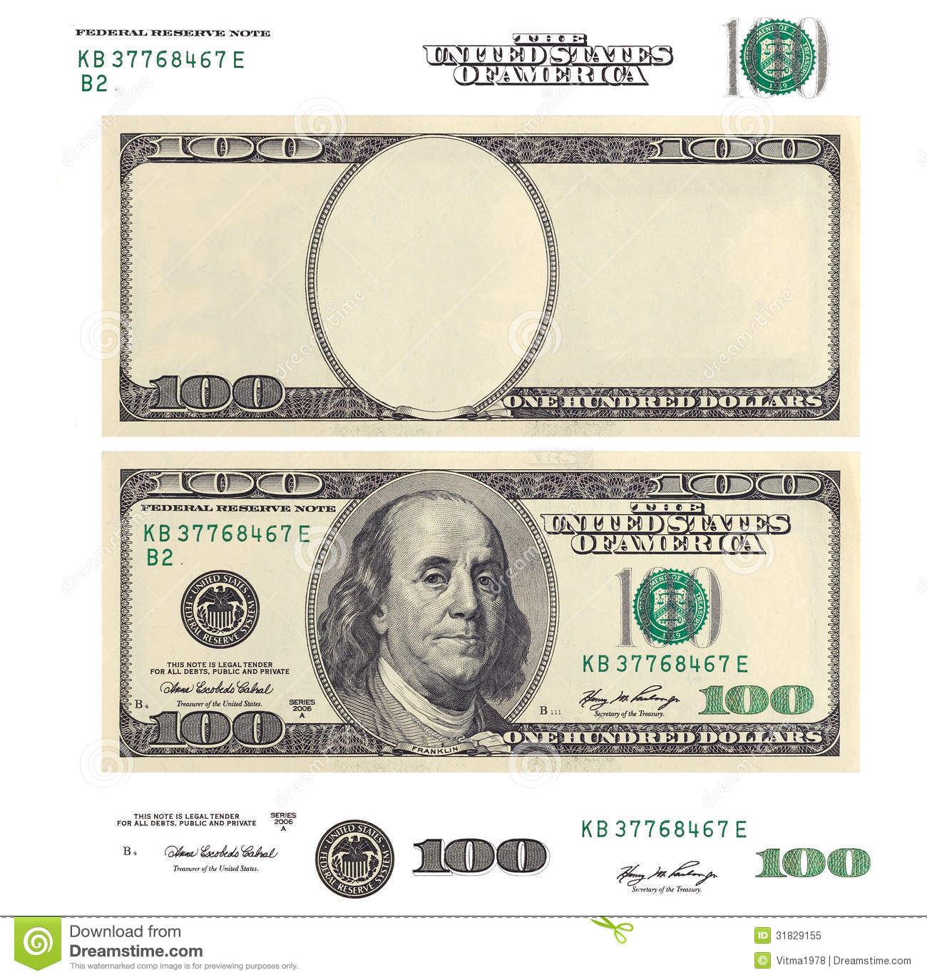 Clear 100 Dollar Banknote Template And Elements See My Other Works In