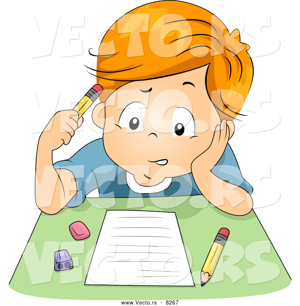 Boy writing animated images
