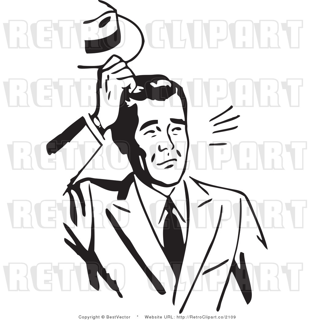Free Black And White Retro Vector Clip Art Of A Confused Businessman