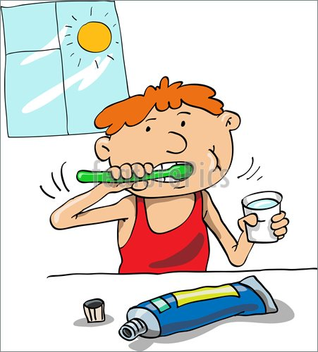 Illustration Of In The Morning The Boy Washes And Cleans A Teeth