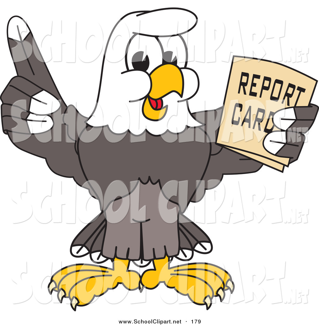 Larger Preview  Clip Art Of A Cute Bald Eagle Character Holding A