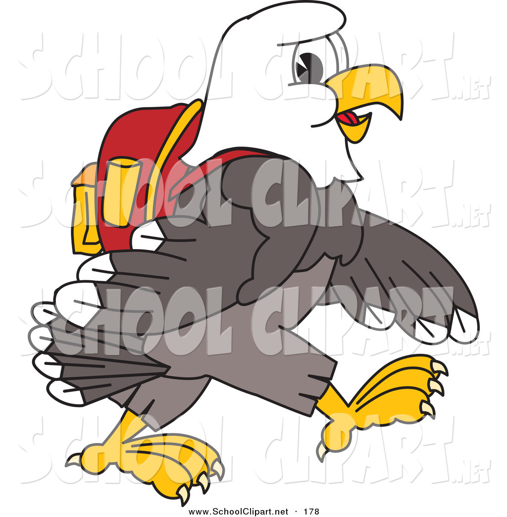 Larger Preview  Clip Art Of A Student Bald Eagle Character Walking And