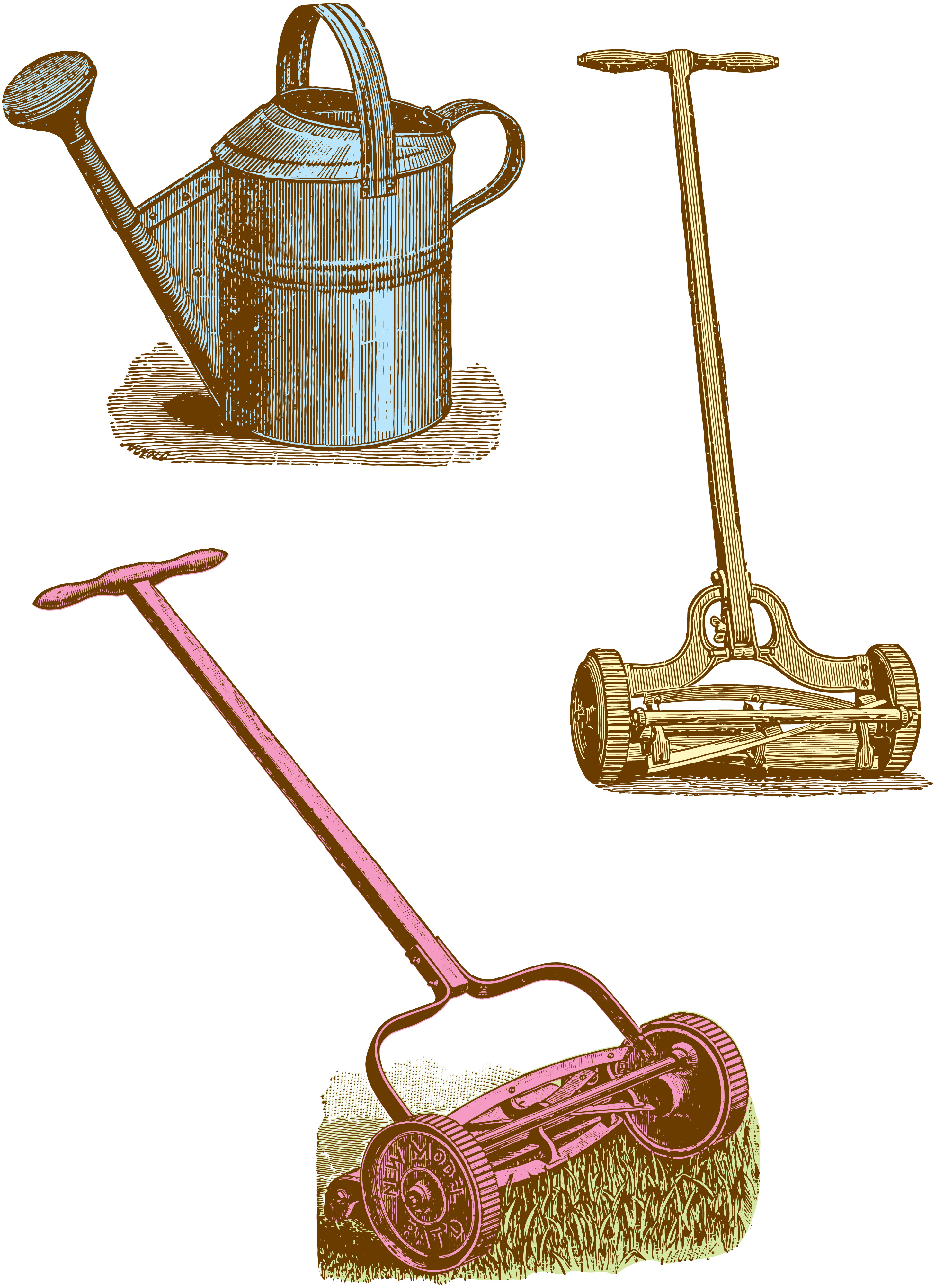 Today S Vintage Graphics Some Useful Gardening Tools Watering Can Lawn