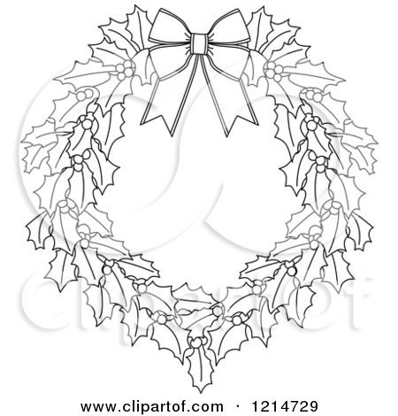 Christmas Wreath Black And White Clipart - Clipart Kid