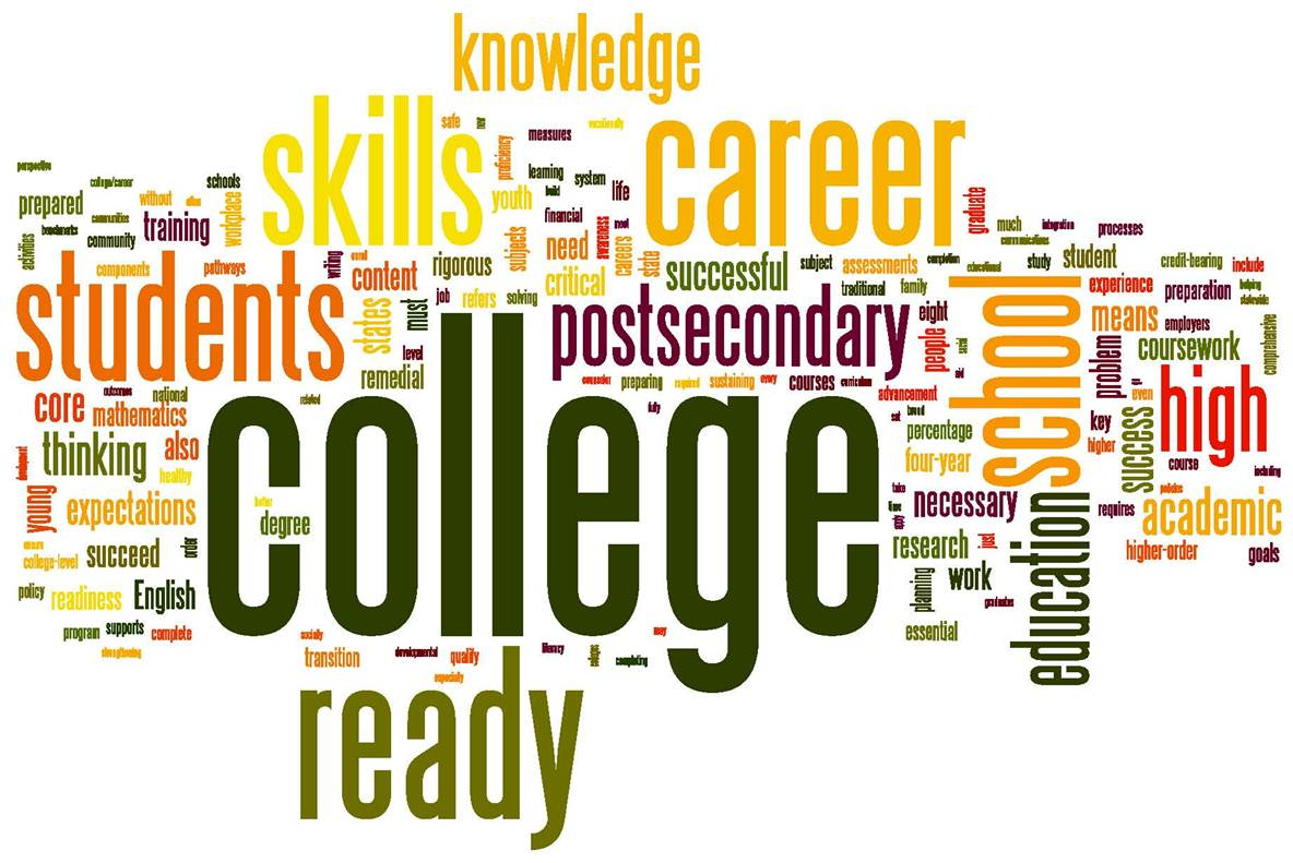 College And Career Readiness Word Cloud With The Word College In
