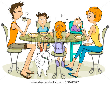 Family Eating Together Clipart Family Eating Vector