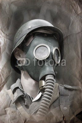 German Soldier In Gas Mask   Ww2 Reenacting Stock Photo And Royalty