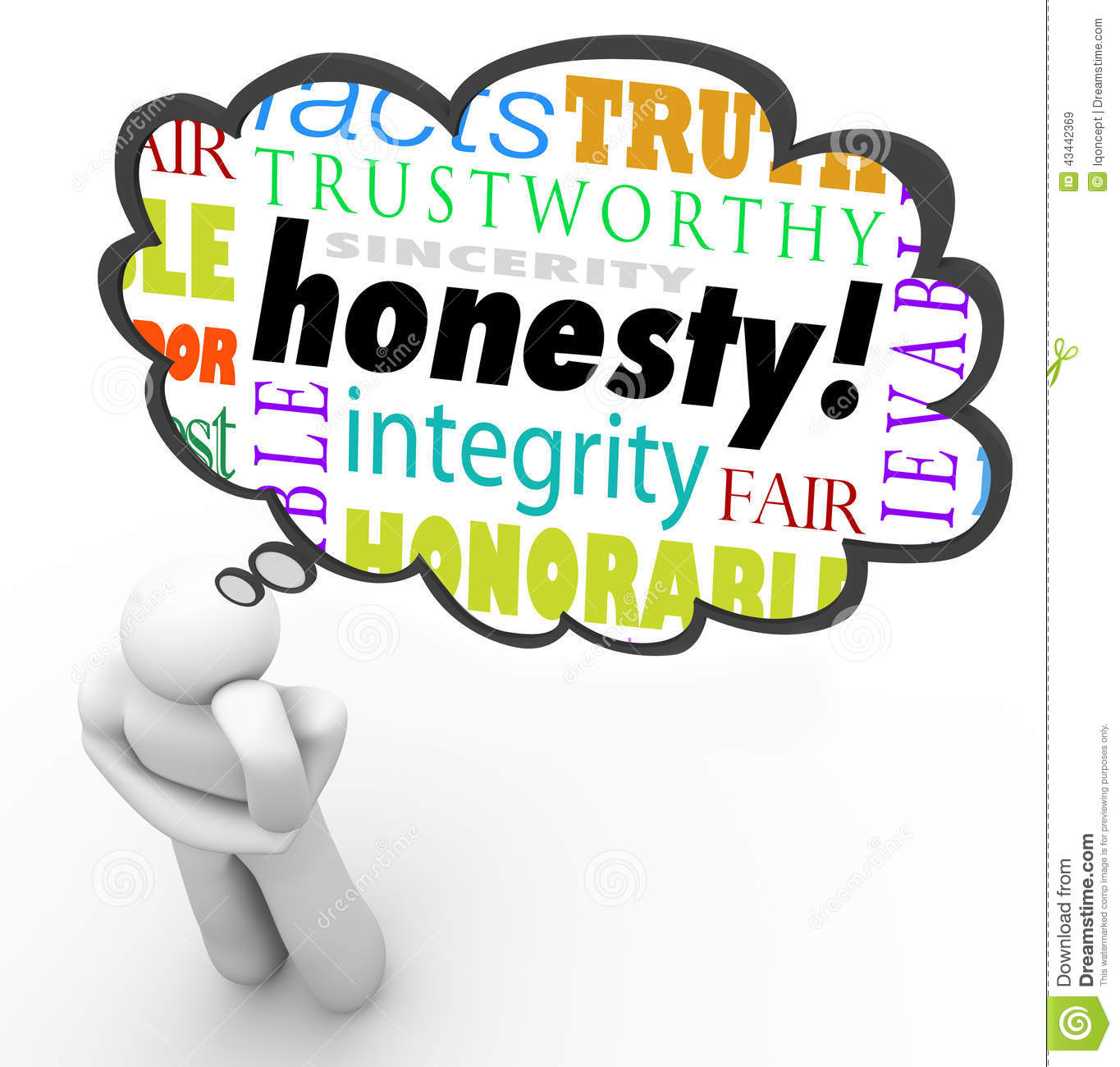 Honesty Sincerity Virtue Words Integrity Thinker Thought Cloud Stock