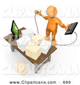 Orange Employee Sitting At A Wooden Desk And Using A Laptop While