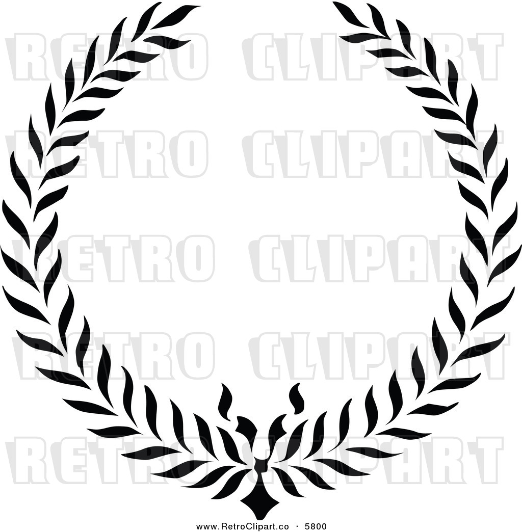 Vector Clipart Of A Retro Black And White Floral Wreath Frame