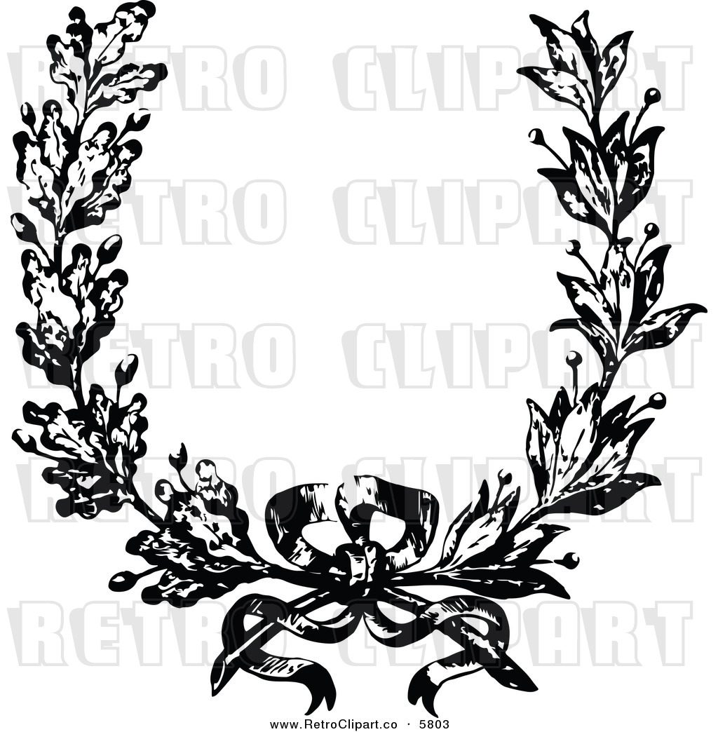 Vector Clipart Of A Retro Black And White French Floral Wreath And Bow