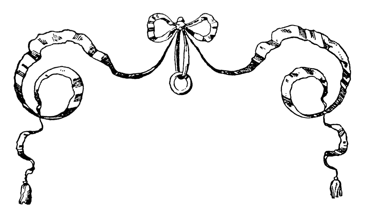 Vintage Bow Clipart Black And White Clip Art Ornamental Ribbon