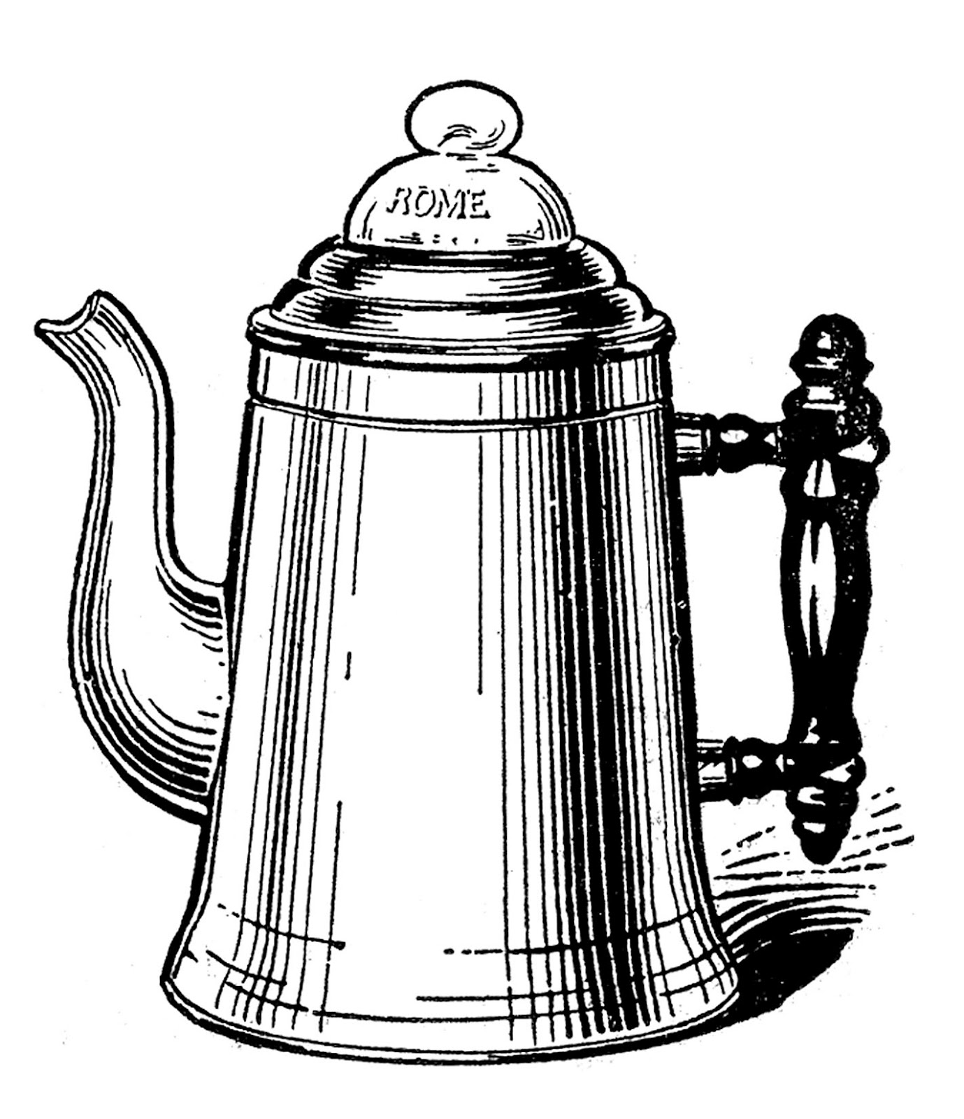Vintage Kitchen Clip Art   Tea Kettle And Coffee Pots   The Graphics