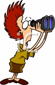 4106 Shocked Secretary Looking Through Binoculars Clipart Image Jpg