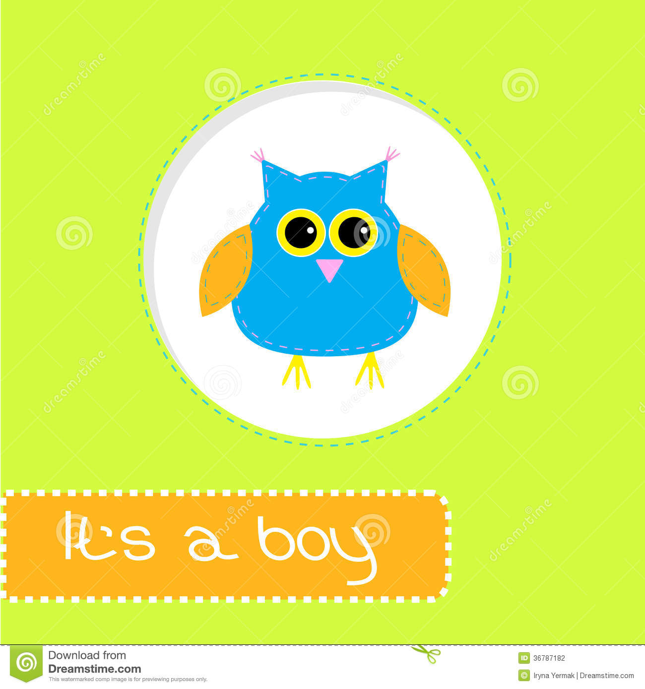 Baby Shower Card With Blue Owl  Its A Boy Stock Photography   Image