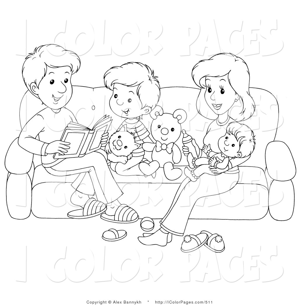 Black And White Coloring Page Of A Happy Family Reading On A Couch