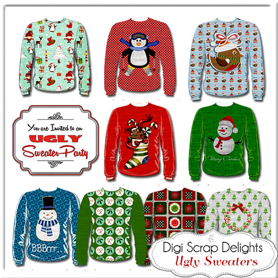Christmas Clip Art Ugly Sweaters Red Green Tree Snow Cards
