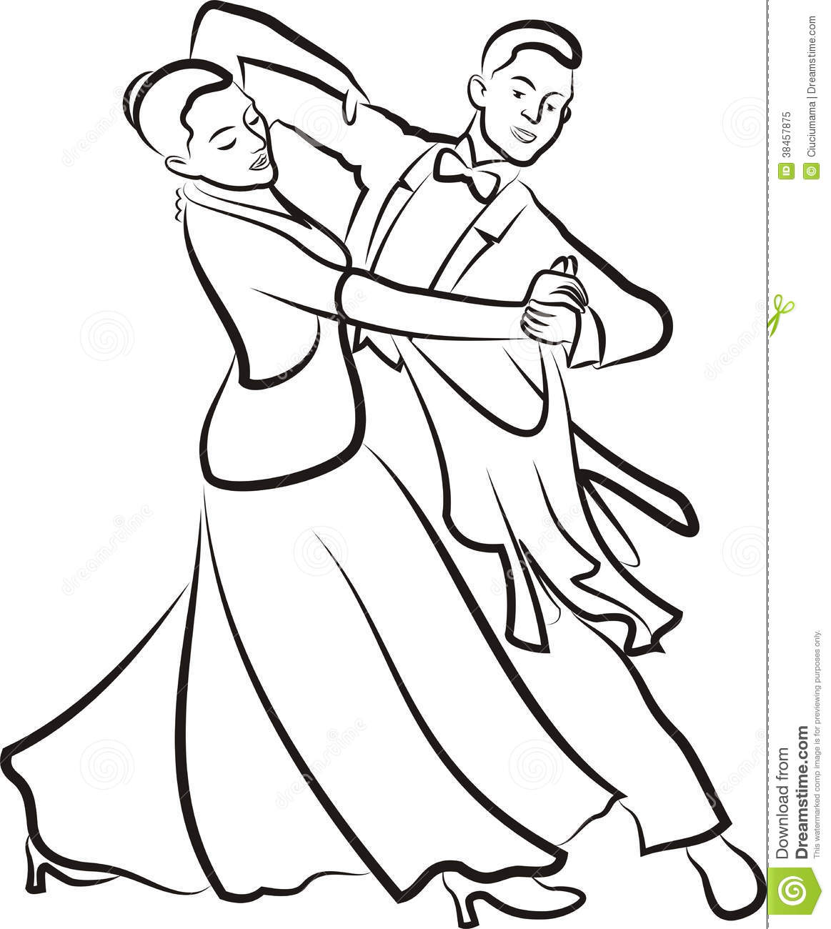 Elegant Dance   Black And White Outlines