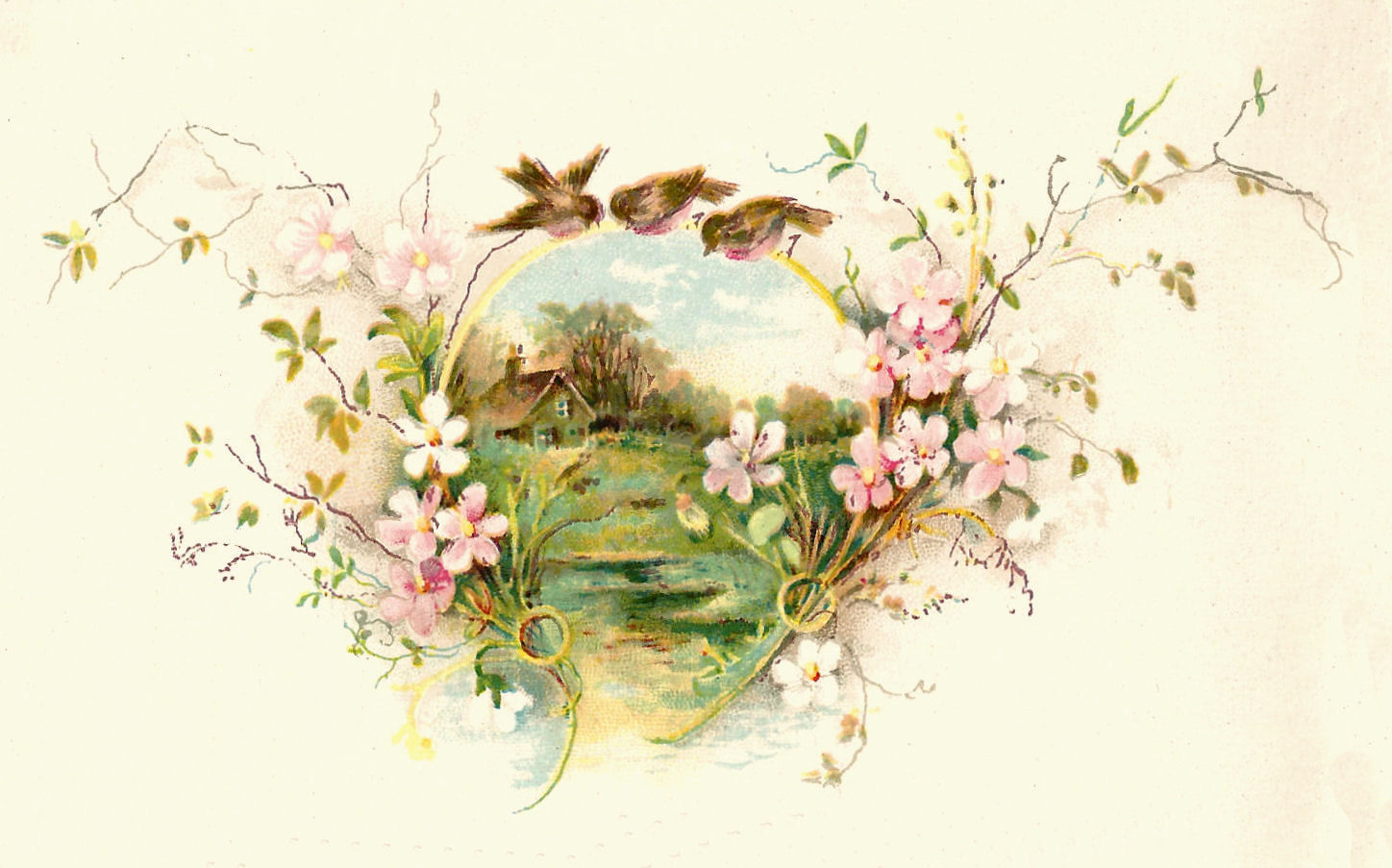 Free Vintage Bird Graphic 3 Birds On A Flower Frame Clip Art Pictures