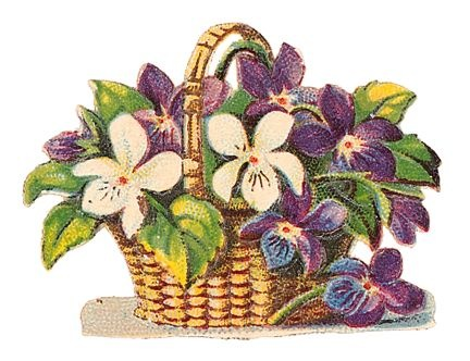 Free Vintage Flower Clip Art Purple Flowers In Basket Jpg