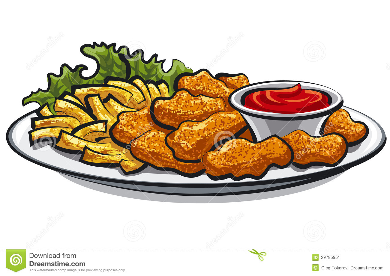 Fried Chicken Nuggets And Fries Stock Image   Image  29785951