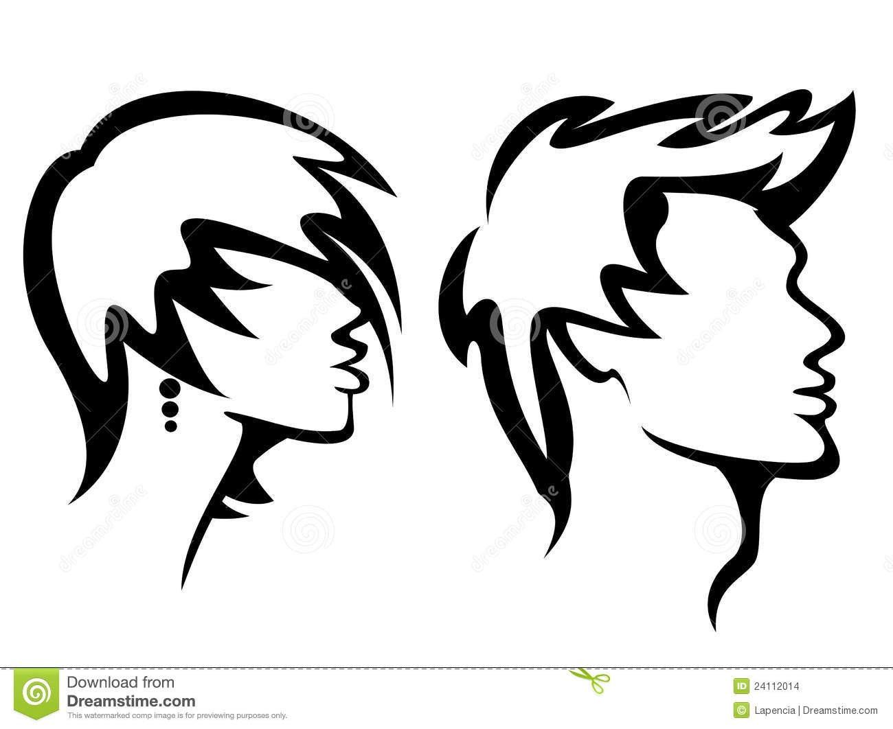 Hair Cutting Tools Clipart Womans And Mans Haircut Styles