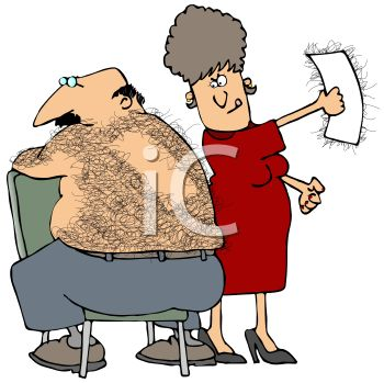 Hairy Man Having His Back Waxed   Royalty Free Clip Art Picture
