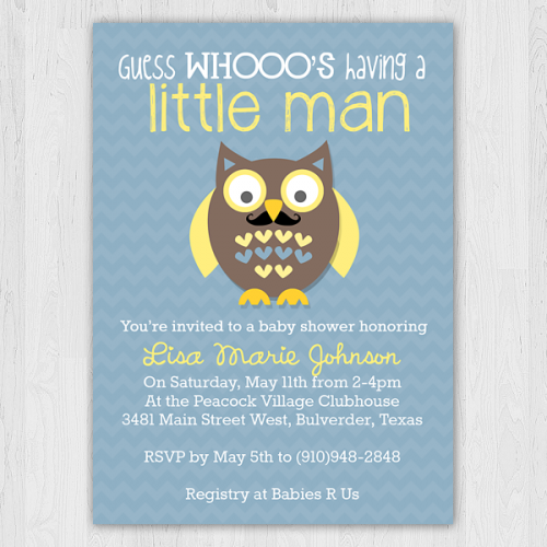 Home   Mustache Owl   Blue   Baby Shower Invitation