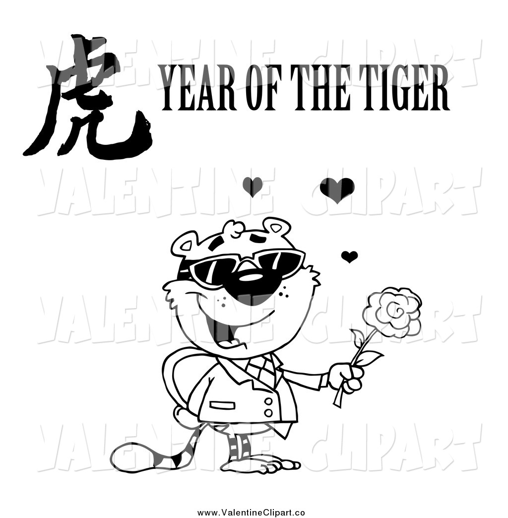 Larger Preview  Vector Clip Art Of A Black And White Valentine Tiger
