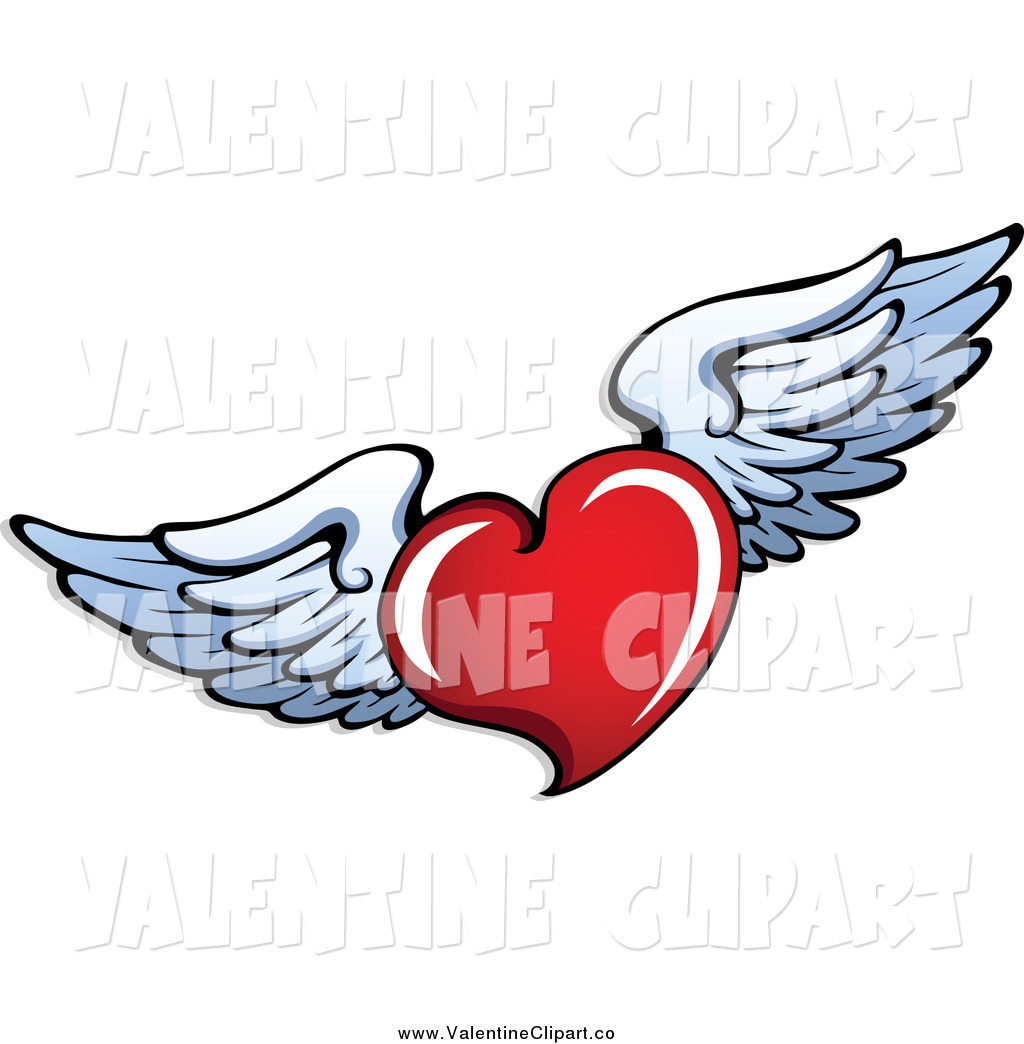 Larger Preview  Vector Clip Art Of A Red Valentine Heart Flying White