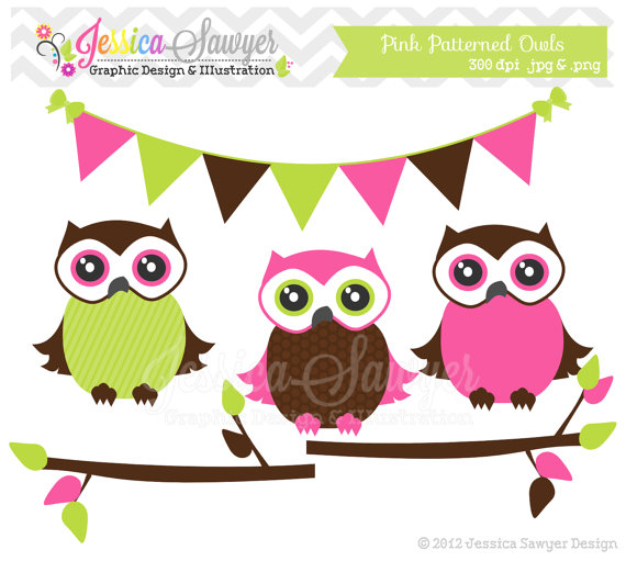 Patterned Owl Clipart Bunting Banner Branches For Baby Girl Shower