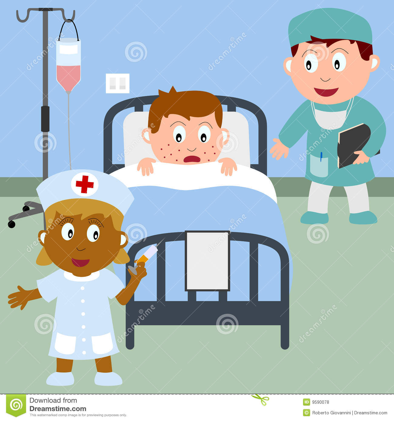 Sick Boy In A Hospital Bed With A Doctor Holding The Medical Record