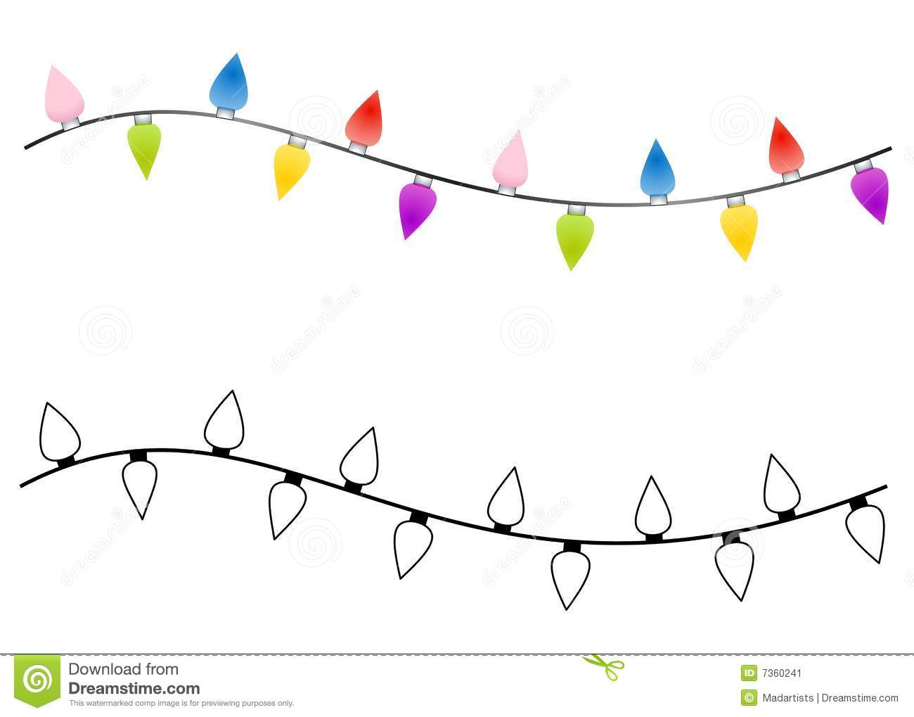 String Of Christmas Lights Black And White Clipart - Clipart Suggest