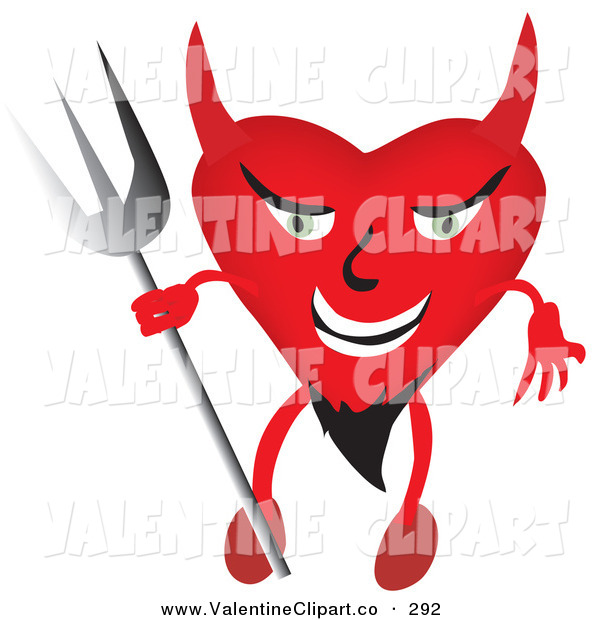 Vector Clip Art Of A Evil Devilish Heart Character With A Goatee