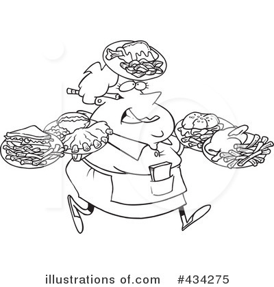 Waitress Clipart  434275 By Ron Leishman   Royalty Free  Rf  Stock