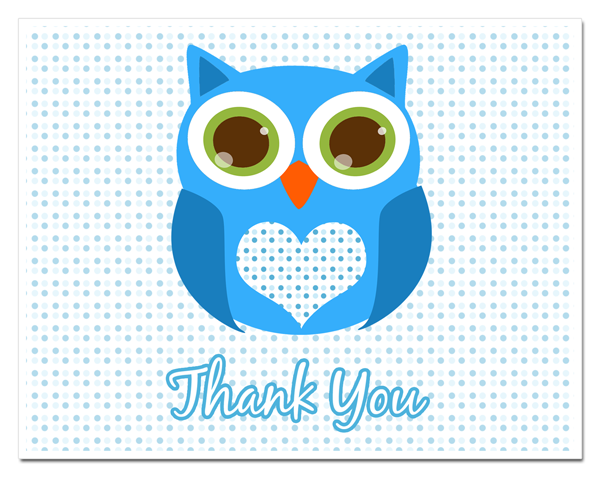 Wordpress Com 2011 12 12 Baby Shower Thank You Cards Owl Baby Ty Blue