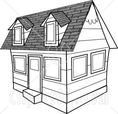 4276 Black And White House Clipart