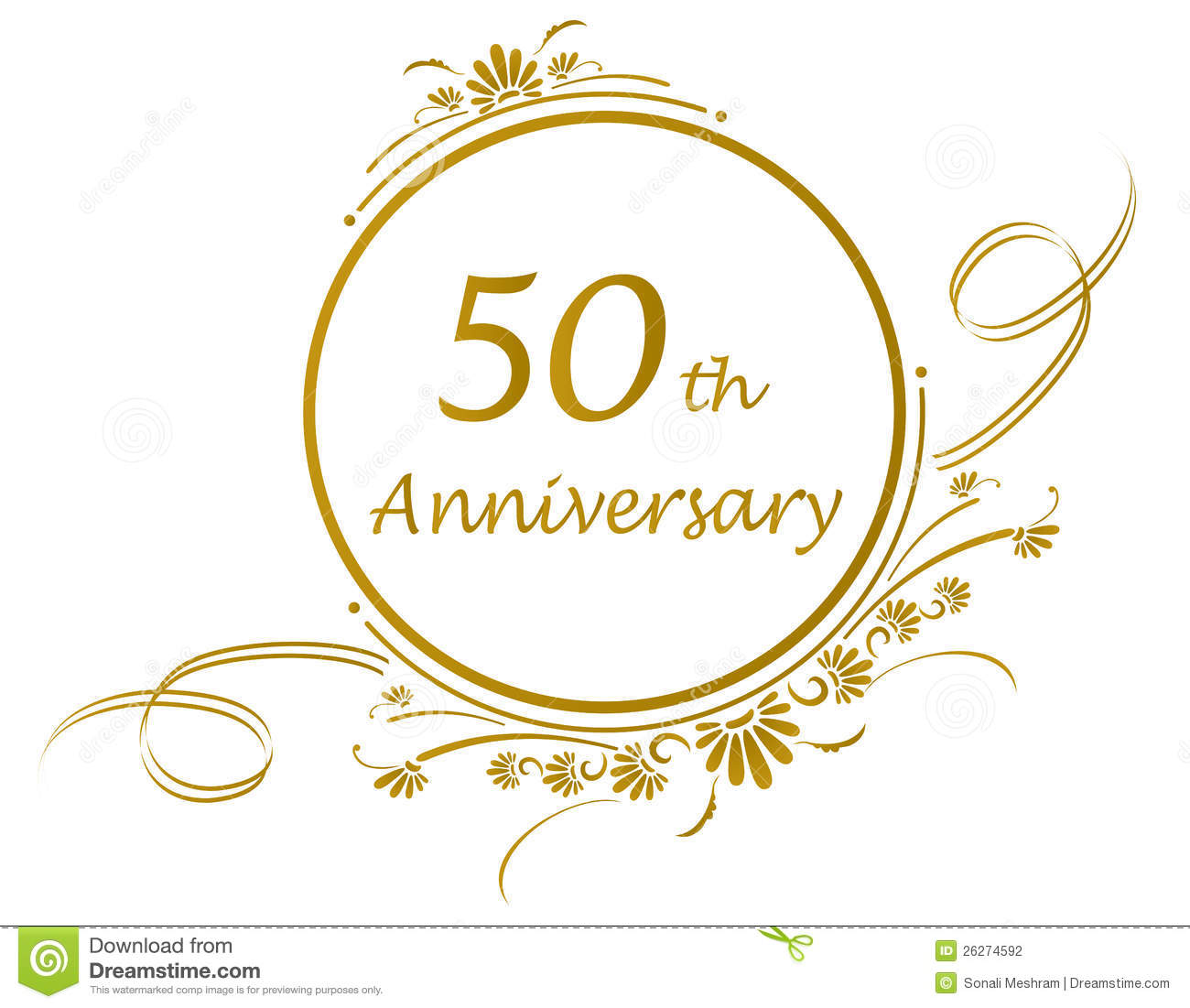 50th Or Golden Anniversary Of A Marriage Or Business Vector Available