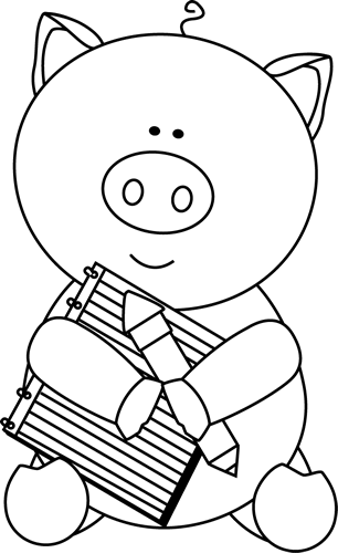 clipart pig black and white - photo #34