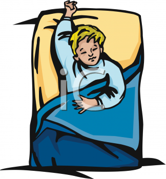 Child Taking Nap In Bed   Royalty Free Clip Art Image