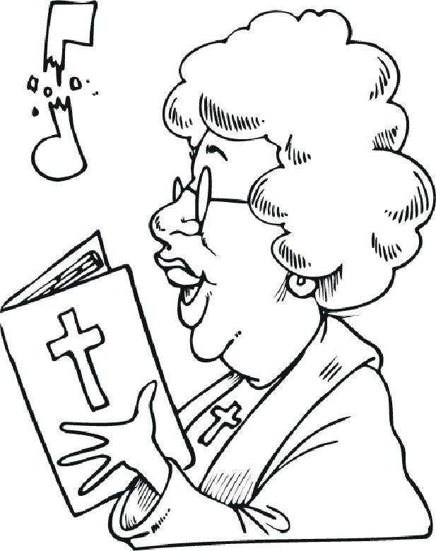 Christian Singing Free Colouring Pages  Page 2