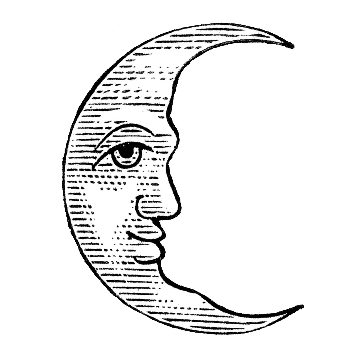 Clip Art   Man In The Moon   Crescent And Full   The Graphics Fairy