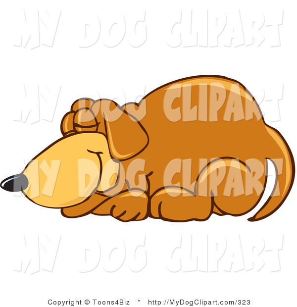 Clip Art Of A Brown Dog Mascot Cartoon Character Curled Up And Taking