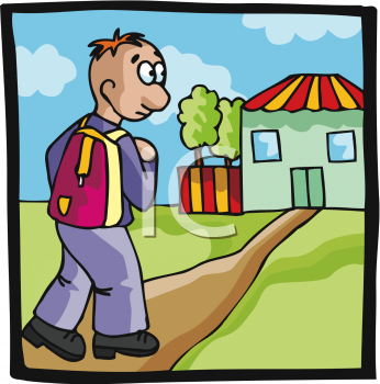 Clip Art Picture Of A Young Boy Walking To School With A Backpack