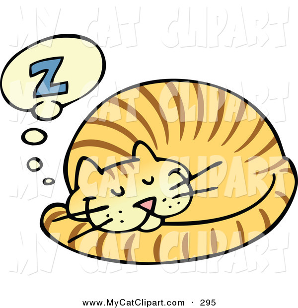 Clip Art Striped Ginger Cat Curled And Taking Pleasant Nap